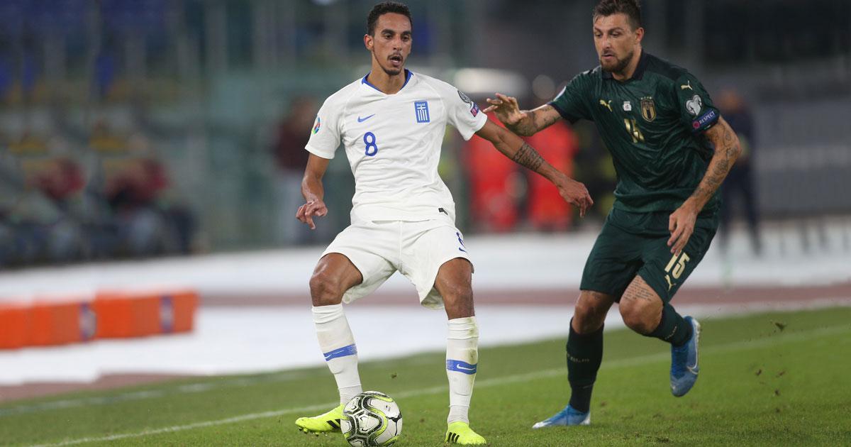 Zeca representerar det grekiska landslaget under UEFA Euro 2020-kvalet match mellan Italien och Grekland 2019.